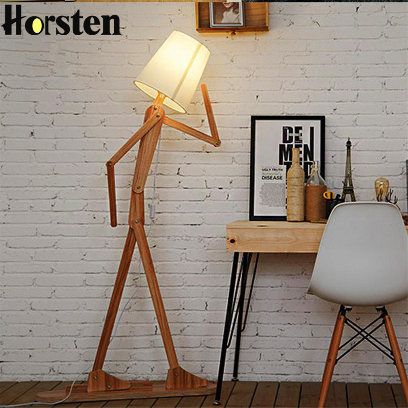 Japanese Style Creative DIY Wooden Floor Lamps Nordic Wood Fabric Stand Light For Living Room Bedroom Study Art Deco Lighting modern wooden floor lamps bookshelf floor stand lights tea table standing lamp living room bedroom locker nightstand lighting