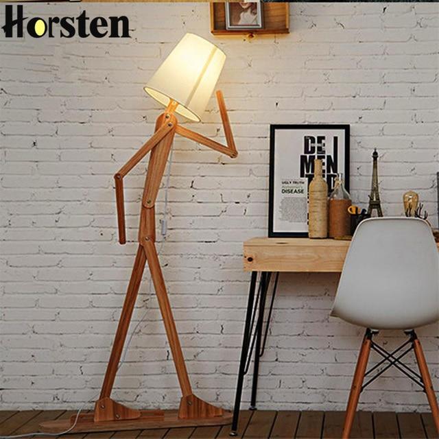 Japanischen Stil Kreative Diy Holz Boden Lampen Nordic Holz Stoff