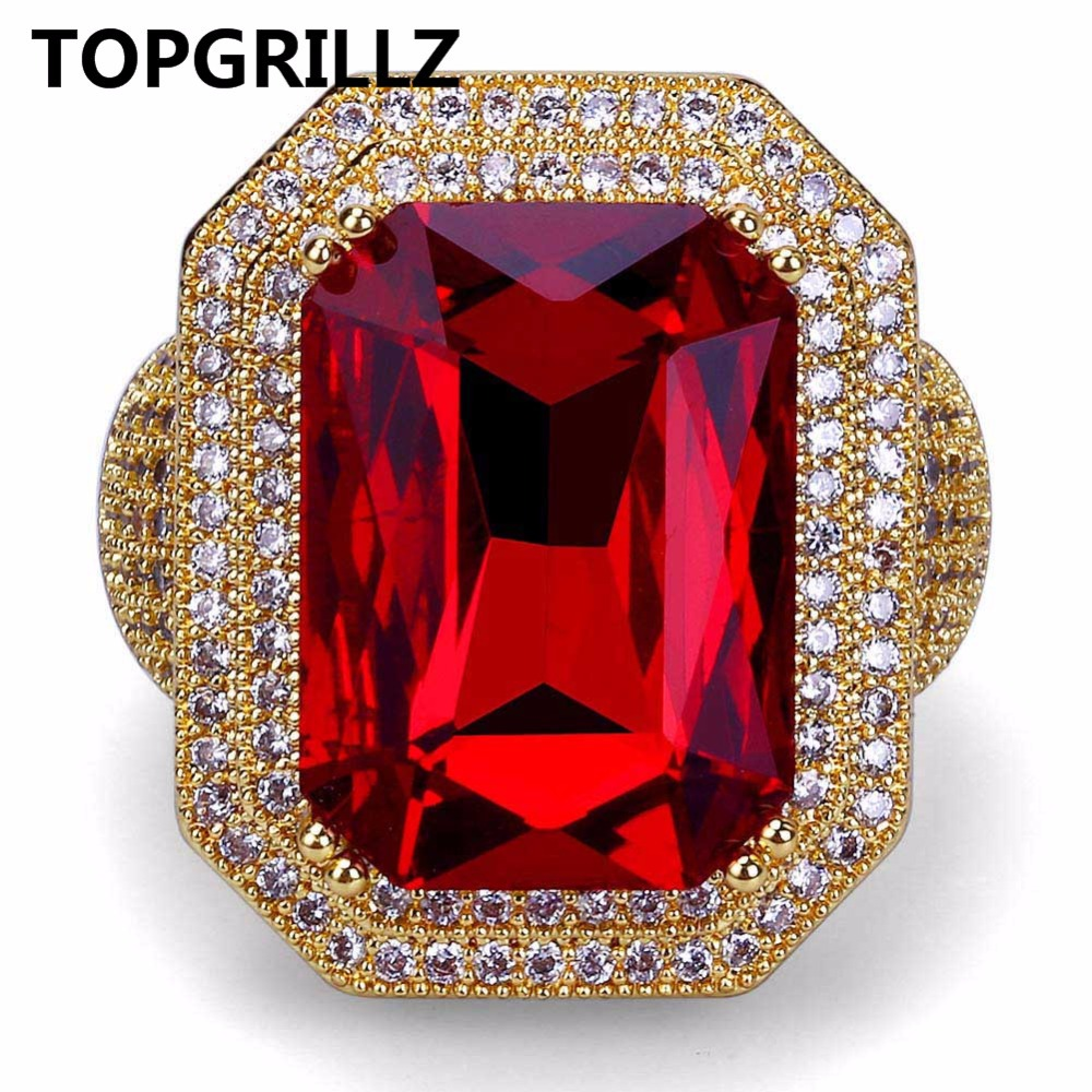 TOPGRILLZ New Fashion Hip Hop Ring Gold Color Plated Iced Out Bling Micro Pave CZ Stone Red Rhinestone Rings With 7,8,9,10,11