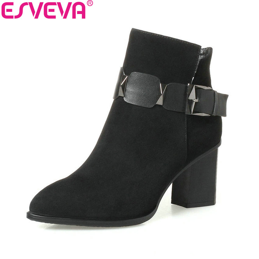 ESVEVA 2018 Women Boots Square High Heel Short Plush/PU Ankle Boots Pointed Toe Kid Suede Autumn Spring Ladies Boots Size 34-42 nemaone 2018 women ankle boots square high heel pointed toe zipper fashion all match spring and autumn ladies boots