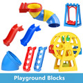 Grandes bloques de complementar partes escalera diapositiva columpio placa base accesorio compatible diy juguetes noria