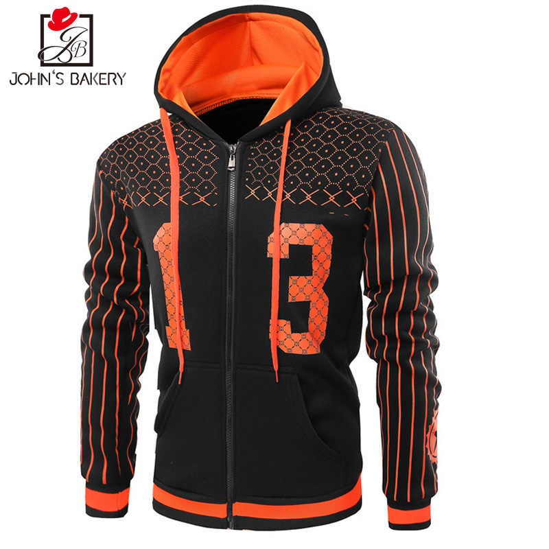 dfce27c37fd ... Winter Hoodie Male Cardigan 2019 New Long Sleeve Hoodies Men Zipper  Sweatshirt Stripes Hoodies Mens Hooded