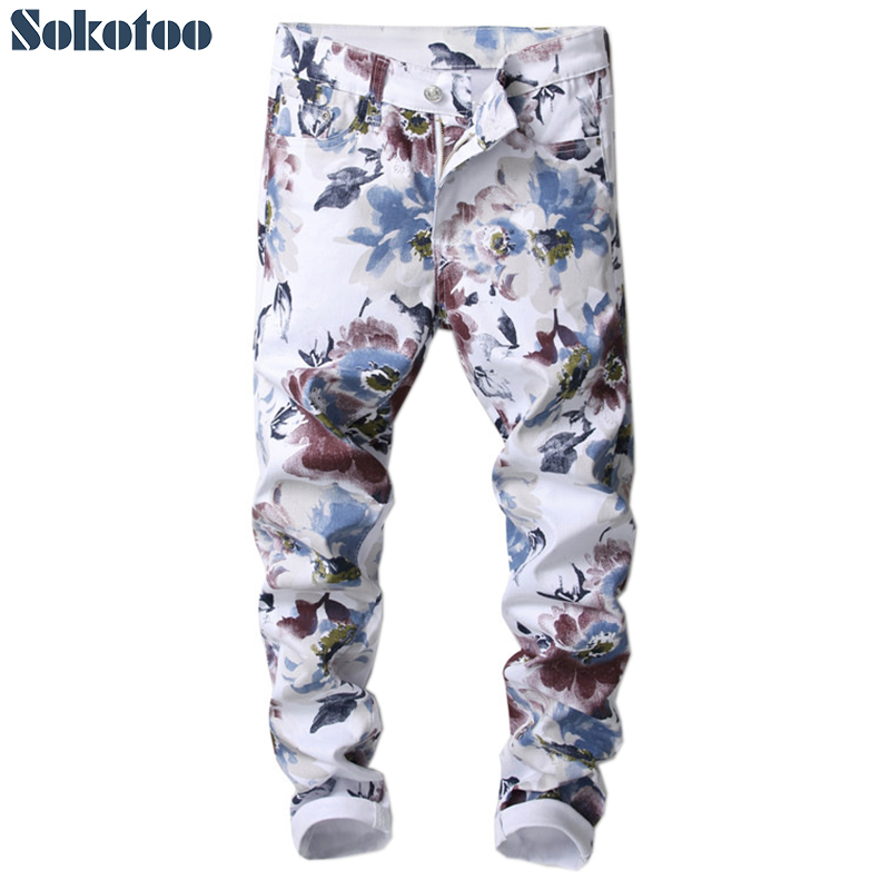 Sokotoo Men's fashion slim fit flower 3D printed   jeans   Floral pattern print skinny stretch denim pants