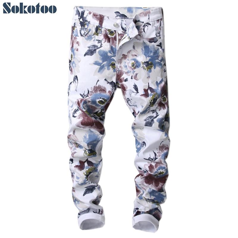 Sokotoo Men's Fashion Slim Fit Flower 3D Printed Jeans Floral Pattern Print Skinny Stretch Denim Pants