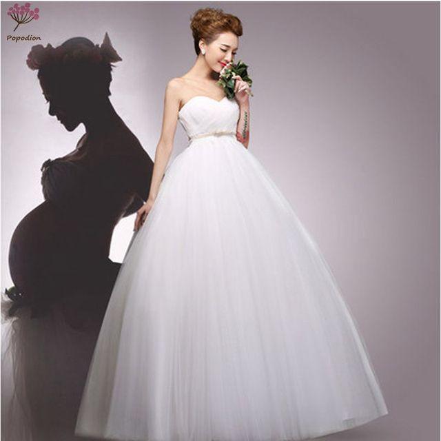 Us 176 86 26 Off Simple Pregnant Woman Wedding Dresses Strapless Plus Size High Waist Wedding Gown Vestidos De Noiva Robe De Mariagewed90216 In
