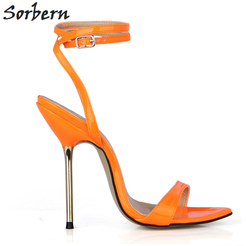 Sorbern Orange Shiny Summer Women Sandals Gold High Heels Shoes Ladies Trendy Women Shoes 2018 Summer Shoes Stilettos - 6
