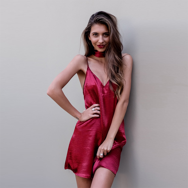 34e34ec8b1ed Sexy Casual Plunging Neck Satin Slip Dress Women 2016 Gold Backless Loose  Choker Street chiara ferragni Mini Vestidos QWA0766 5-in Dresses from  Women's ...
