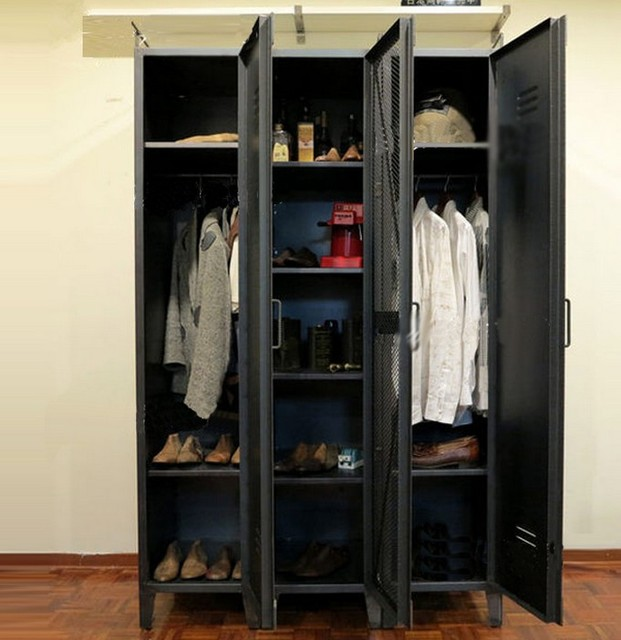 High Quality French Industrial LOFT Iron Wardrobe Cabinet Large Wardrobe Closet Shoe  Locker Shelf Bookcase Display Cabinet