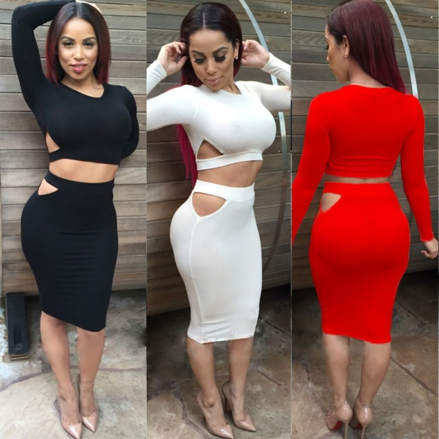 93dc94902 2015 Winter Women Sexy Black Two Piece Bandage Dress Long Sleeve Cotton red  2 Piece Outfits Bodycon Party Dresses vestidos