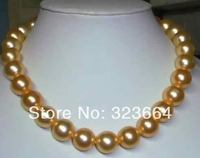 18inch huge AA+11 12mm SOUTH SEA GOLDEN PEARL NECKLACE PLATED