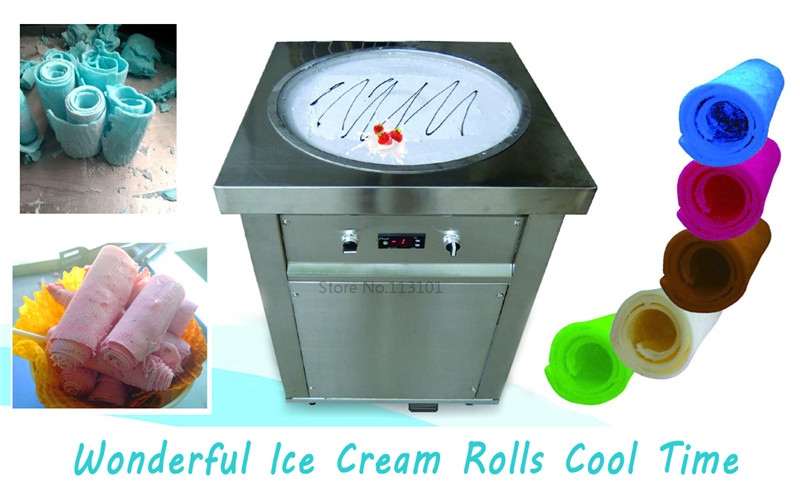 Hot sale-Fried ice cream machine with single pan Stainless Steel freeze milk ice pan machine vik max adult kids dark blue leather figure skate shoes with aluminium alloy frame and stainless steel ice blade