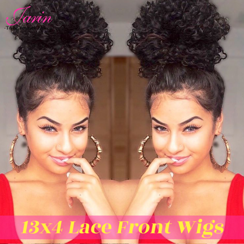 Jarin Hair Kinky Curly Lace Front Human Hair Wigs Pre Plucked Hairline Raw Indian Hair Lace Wig With Baby Hair Natural Color #1B