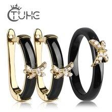 Купить с кэшбэком Gold Butterfly Rings and Earrings AAA Rhinestone Healthy Ceramic Jewellery sets Women Mom Gift Jewelry For Wedding Accessories