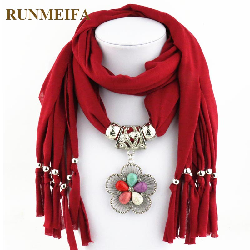 New Fashion Jewelry Pendant Necklace Scarf for women 180*40cm Polyester Scarf choker Clothing Accessories in Stock