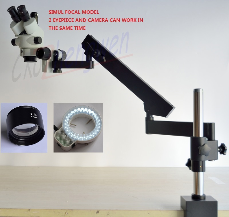 FYSCOPE NEW SMART SIMUL FOCAL MICROSCOPE 3 5X 45X ARTICULATING ARM ZOOM STEREO MICROSCOPE 56LED