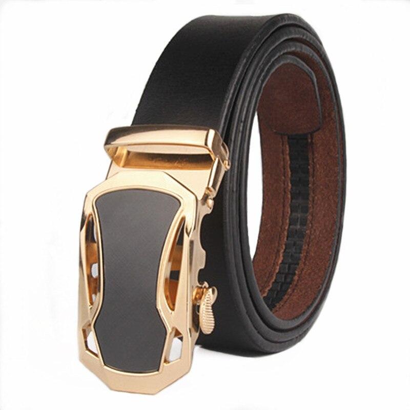 VOHIO Famous Brand Belt Men 100% Good Quality Cowskin Genuine Luxury Leather Men's Belts for Men,Strap Male Metal Automatic belt