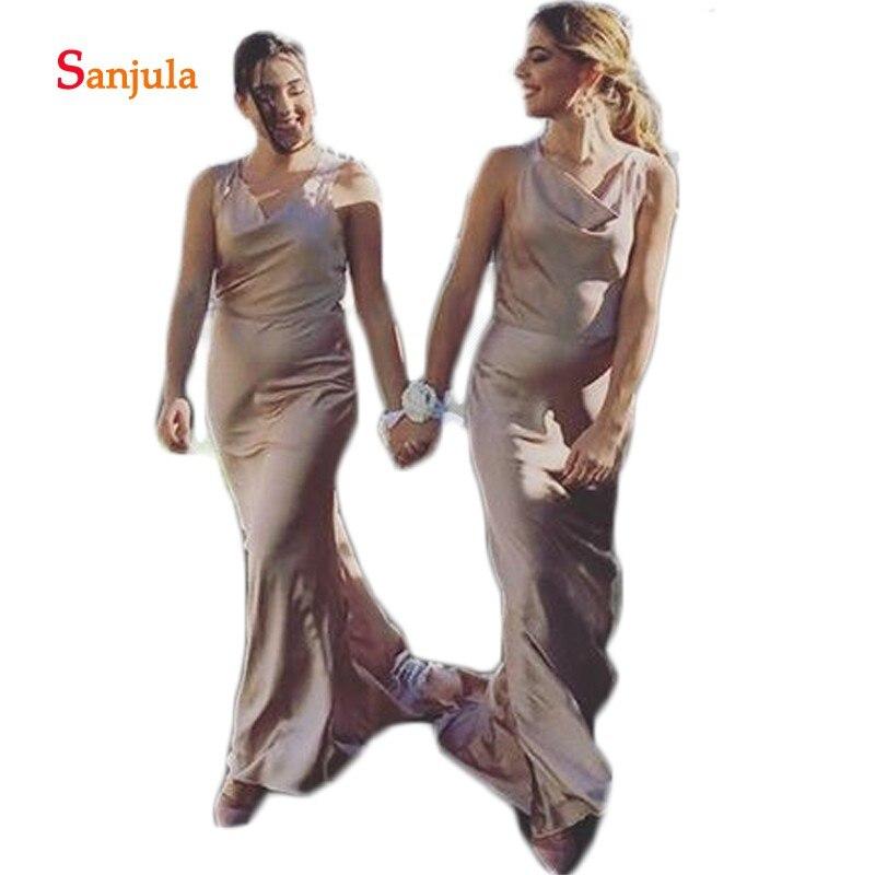 Champagne Satin gaine robes de demoiselle d'honneur Simple longue robe de soirée de mariage dos ouvert robes de mariée invités vestido longo D336