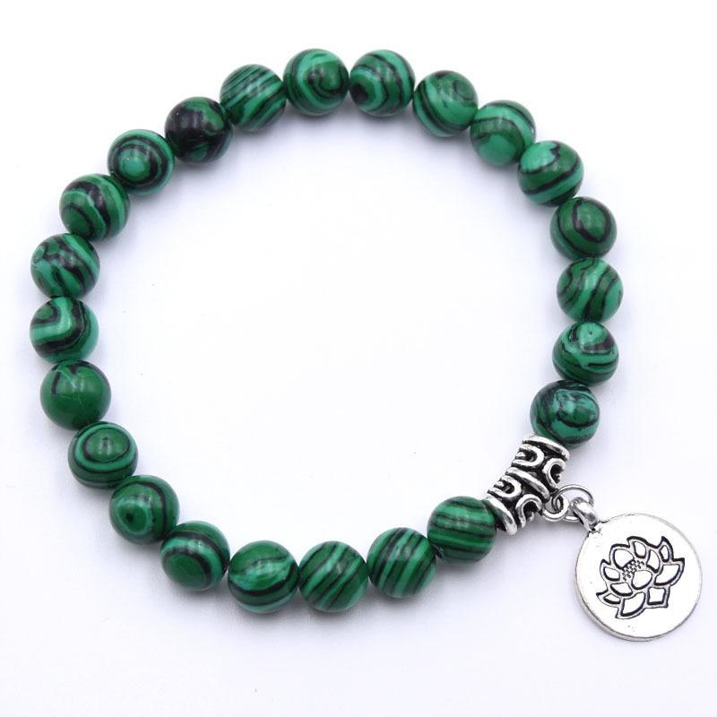 Natural Stone Lotus Buddha Beads Bracelet Matte Amazonite Mala Beads bracelets bangles For Women Men Yoga bracelet femme homme 15