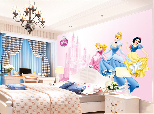 Custom 3D Murals,3D Cartoon Princess Papel De Parede ,living Room Sofa TV Wall Children Bedroom Wallpaper