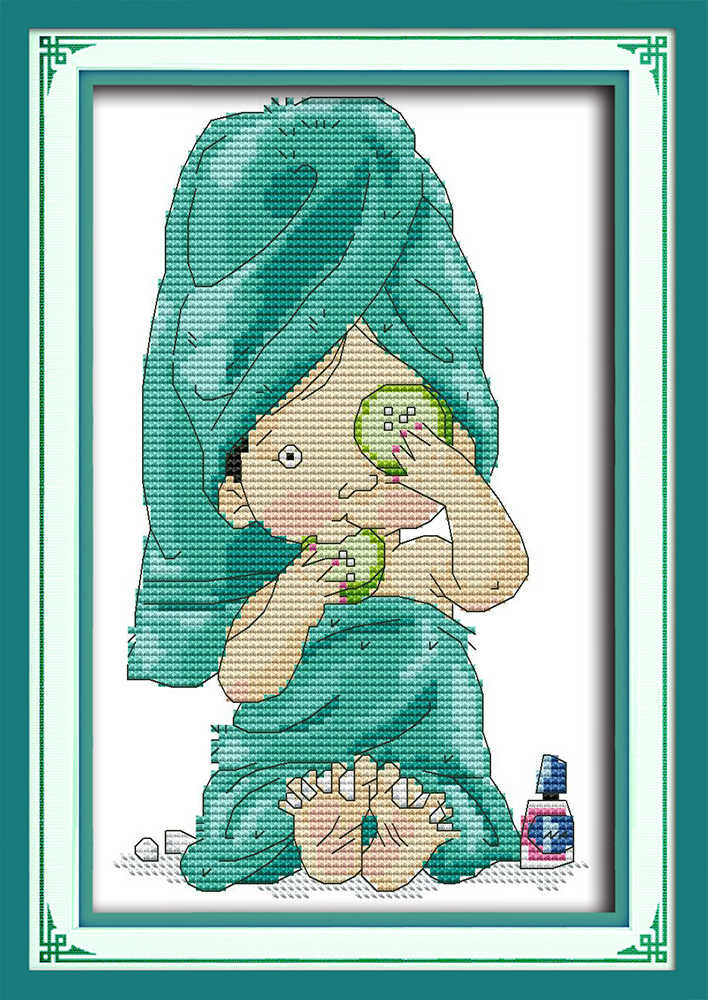 Beauty and manicure cross stitch kit girl 14ct 11ct print canvas hand sew cross-stitching embroidery DIY handmade needlework