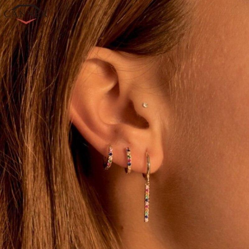 Small Hoop Earrings 925 Sterling Silver CZ Crystal Circle Earrings 2020 Jewelry Rainbow Zircon Earings Girls Gifts
