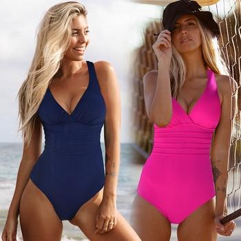 Vintage One Piece Swimsuit Women Swimwear Solid Monokini Retro Bodysuit Beach Wear Black Blue Bath Suit Striped Maillot De Bain 2