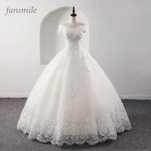 Fansmile yeni lüks Vintage kaliteli dantel düğün elbisesi 2020 balo prenses gelin gelinlikler Vestido De Noiva FSM 557F