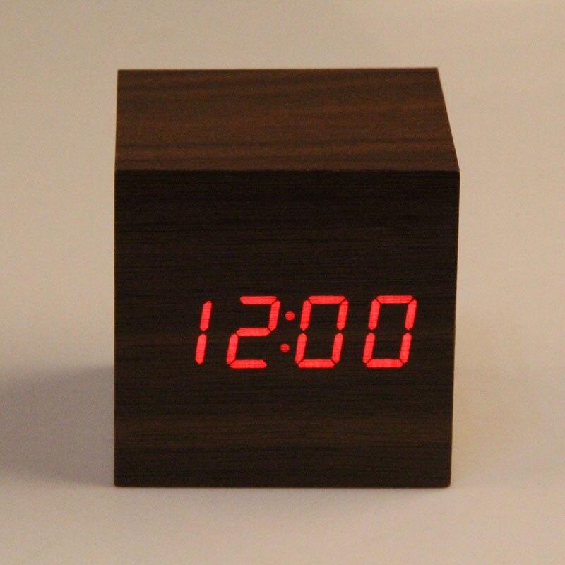 New Arrival desktop clock 2 x AAA/ USB Powered Mini Wooden Clock red LED Digital Desktop Alarm Clock despertador
