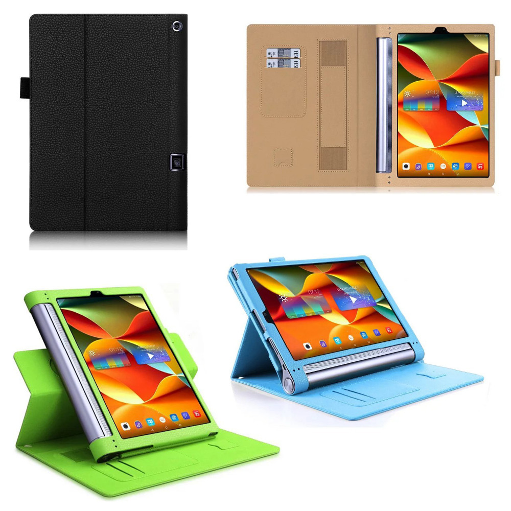 Luxury Cowhide Hand Strap Card Slot 360 Degree Rotating Removeable Stand Leather Cover Case For Lenovo YOGA Tab 3 Plus YT-X703F luxury cowhide hand strap pu leather