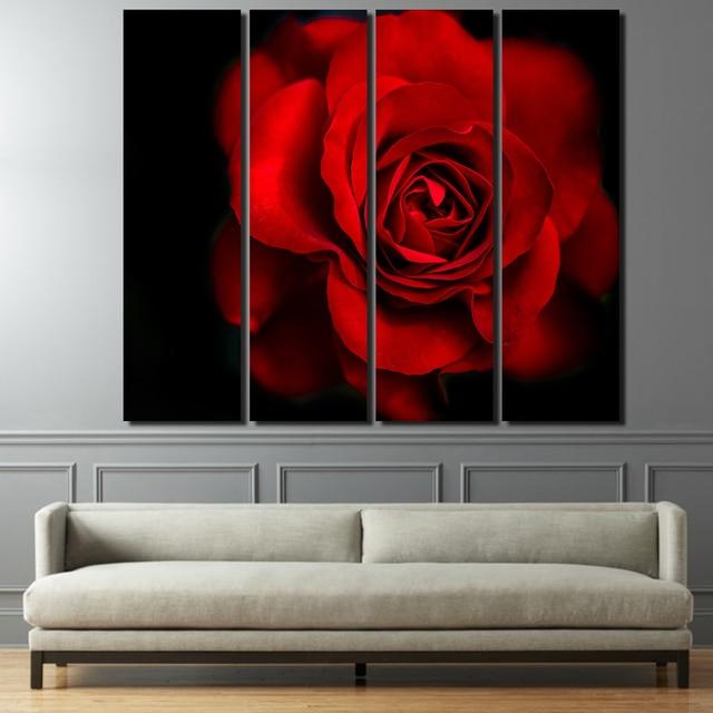 4 Pz/set Incorniciato HD Stampato Fiore Rosso Rosa Rosso Nero arte ...