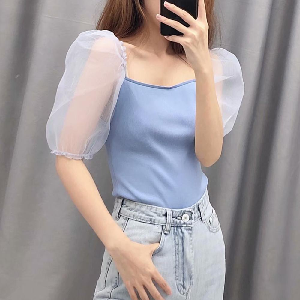 Summer blue knitted tshirt women top see through puff sleeves elastic fabric slim lady streetwear casual stretch tee shirt femme