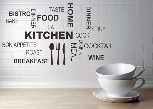 Creative kitchen food home decoration for kitchen quote wall stickers waterproofing vinyl wallposter for store decals mural art in wall stickers from home