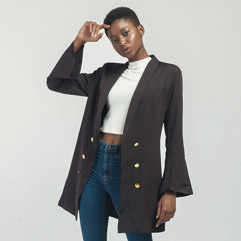 530ae01023ac Amazon New Style Lapel Double Row Button Long Sleeve Long Suit Coat Blazer  Feminino Womens Jackets Coats Women Blazer Suits