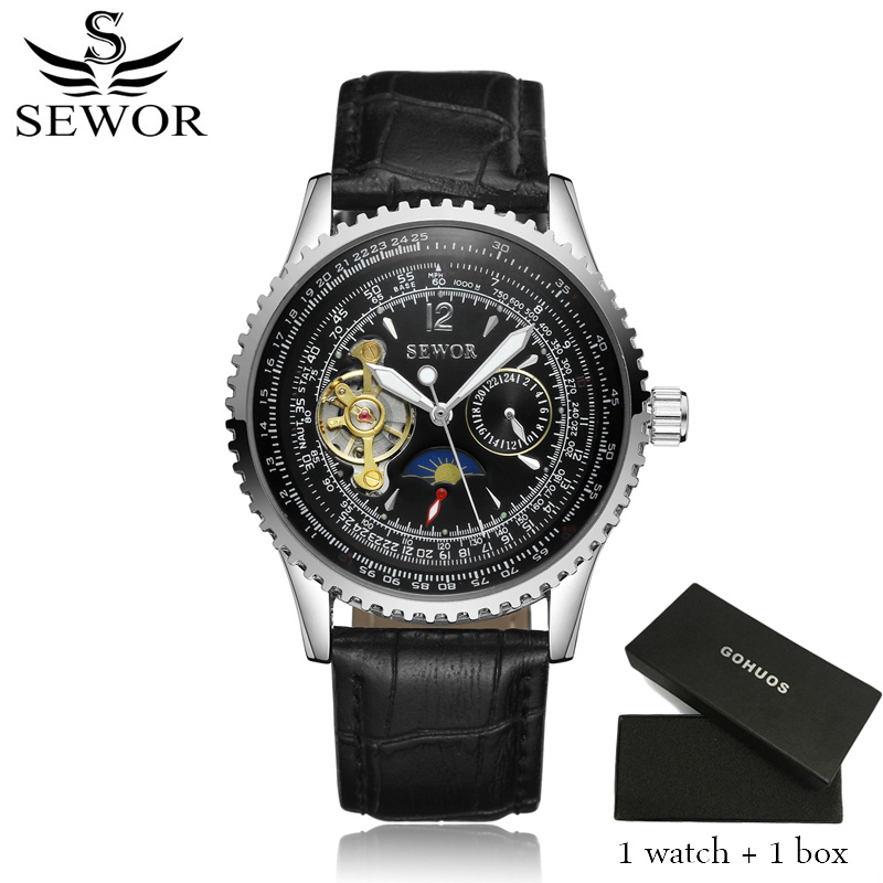 2017 Sewor Brand Watches Men Rectangle Mechanical Automatic Watches Male Golden Skeleton Dial Self-wind Leather Wristwatches retro hollow skeleton automatic mechanical watches men s steampunk bronze leather brand unique self wind mechanical wristwatches