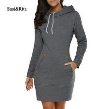 Susi Rita 2017 Autumn Hooded font b Dresses b font Women Pocket Long Sleeve Mini Hoodie
