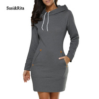 Susi Rita 2017 Autumn Hooded Dresses Women Pocket Long Sleeve Mini Hoodie Dress Plus Size Winter
