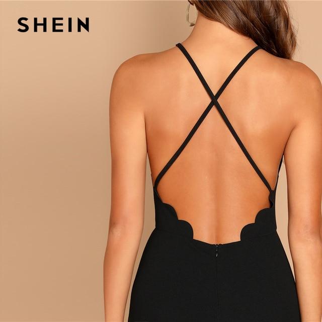 SHEIN Black Scallop Trim Halter Dress Elegant Spaghetti Strap Solid Slim Short Dress Summer Modern Lady Women Sexy Party Dresses 4