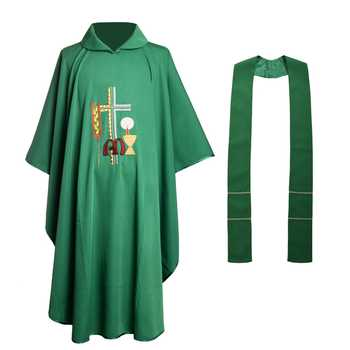 Wheat Embroidered Chasuble Vestments Green Church Priest Garment Religion Christian Cross Costume - DISCOUNT ITEM  0 OFF All Category