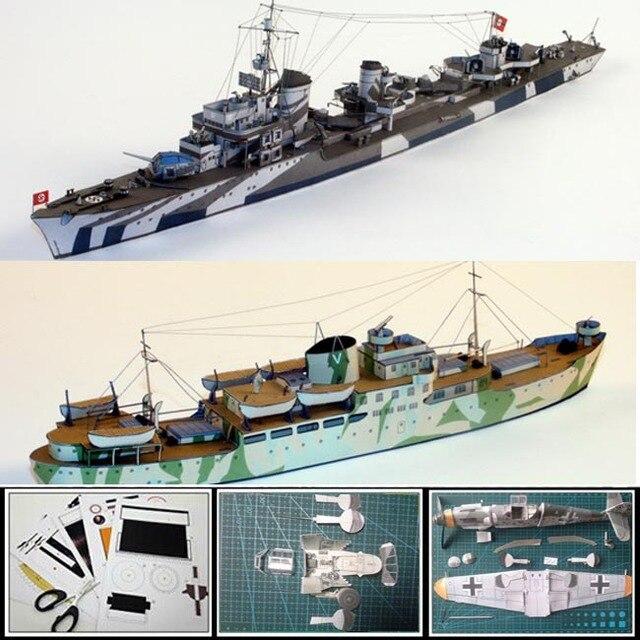 US $11 9 |Paper Model battleship 1:400 scale Destroyer Z32 318 mm long,  Uboat depot ship BOLKOBURG, tanker BLEXEN 3d DIY papercraft Models-in Model
