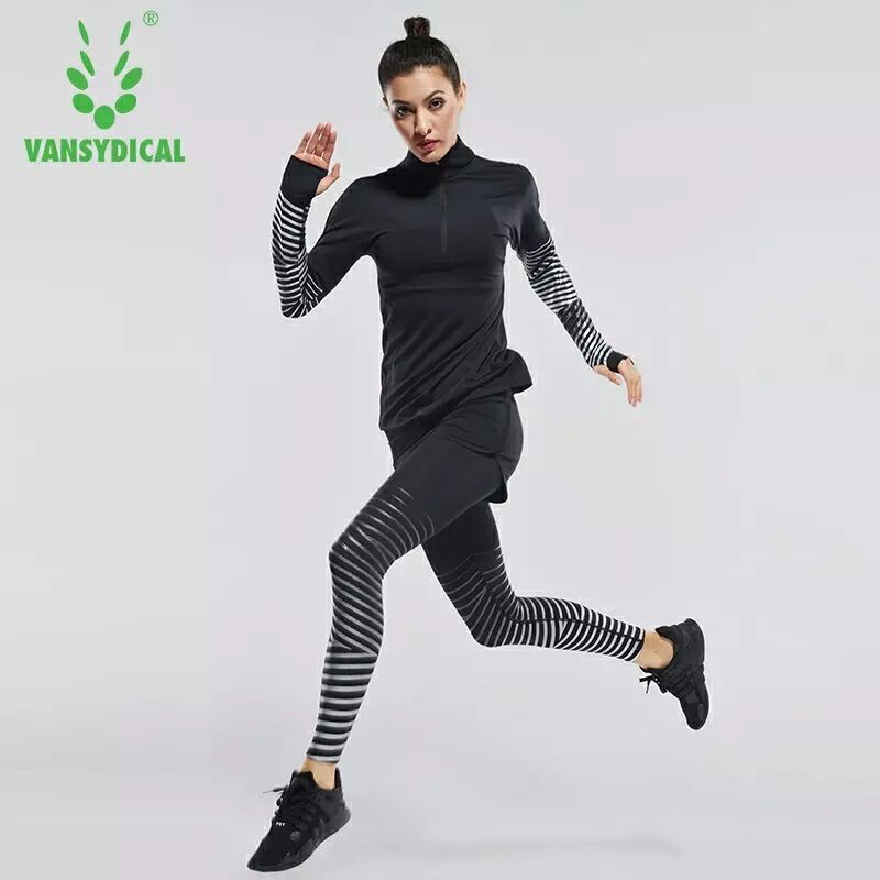 Vansydical new sex Sports suit for women Fitness Yoga Set Running Sportswear Tights Training Jogging Suit female Sports Clothes 2017 vansydical yoga clothing women professional sportswear suit autumn and winter running sports shirt fitness clothes 5pcs