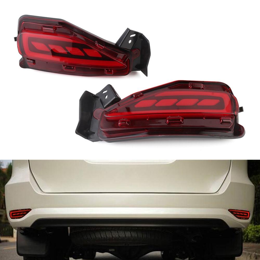 Red car led rear bumper warning light break lamp tail light for toyota fortuner 2015