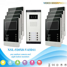 YobangSecurity Wired 4.3″ Inch Monitor Video Door Bell Phone Intercom Home Gate Entry Security Kit System For 8 Unit Apartment
