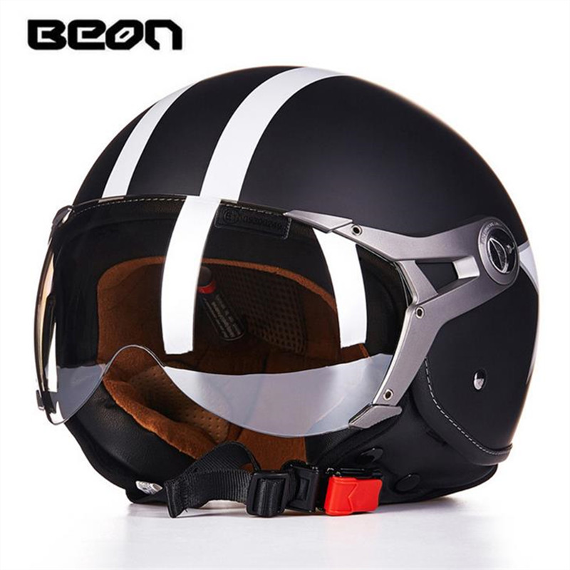 2018 BEON Brand Motorcycle Electric Car Half face Helmet Personalized Fashion Retro Half casco moto retro helmet B-100 2016 newest netherlands authorization beon retro air force harley style half face motorcycle helmet b 100 of abs matte black cat