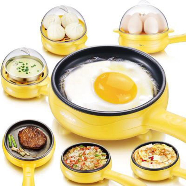 Multifunction household mini egg omelette Pancake Fried Steak Electric Frying Pan Non-Stick Boiled egg boiler steamer EU US