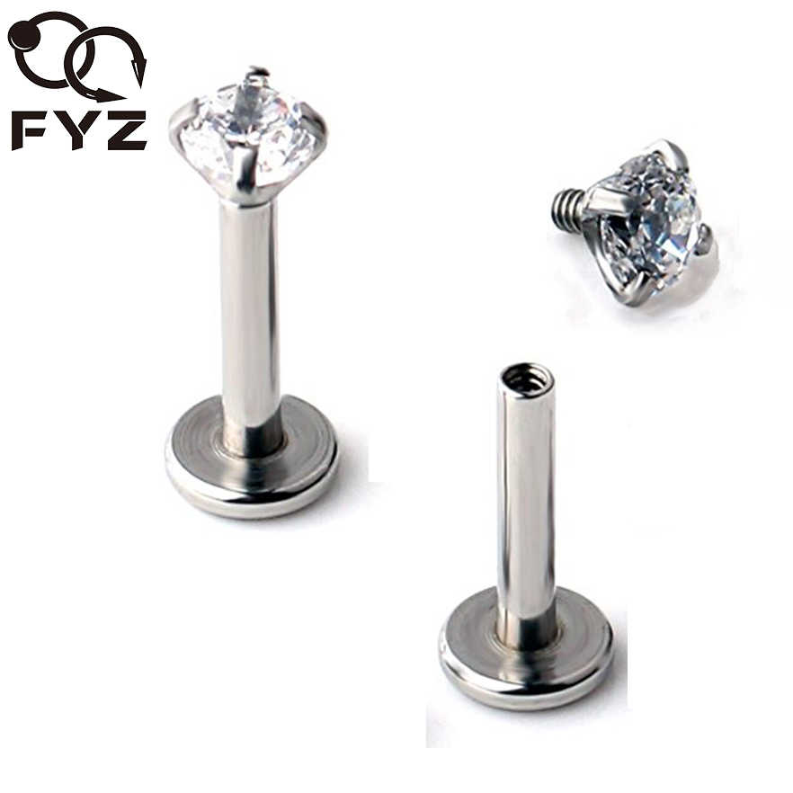 2mm 3mm 4mm 5mm Zircon 16 Gauge Titanium G23 Ear Cartilage Tragus Stud Ring Labret  Lip Piercing Body Jewelry