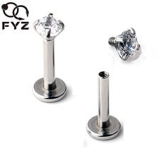 2mm 3mm 4mm 5mm Zircon 16 jauge titane G23 oreille Cartilage Tragus Stud anneau Labret lèvre Piercing corps bijoux