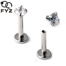 2mm 3mm 4mm 5mm Zirkoon 16 Gauge Titanium G23 Oorkraakbeen Tragus Stud Ring Labret Lip piercing Lichaam Sieraden