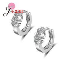 JEXXI Newest Coming Classic Square Design Elegant Silver Earrings For Women Romantic Wedding Engagement Best Jewelry Accessories