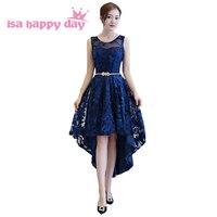 modest low cut back deep blue o neck gown dresses front short and long back vintage elegent high low prom dress 2018 H4253