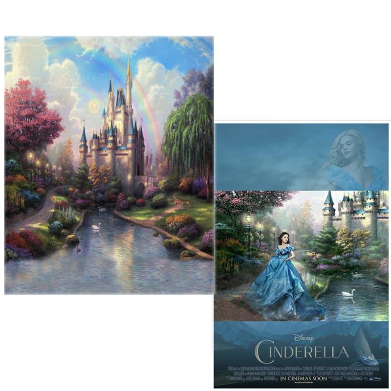 DAWNKNOW Vinyl Kulissen für Fotografie Cinderella Castle Rainbow Neuer Stoff Flanellhintergrund für Fotostudio CM6758